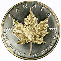 2009 CANADA SILVER MAPLE LEAF $5 GOLD GILDED LEAF ~ IN CAPSULE!