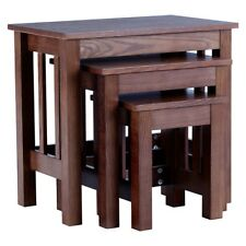 Lincoln Set Of 3 Walnut Nesting Tables Ash Wood Veneer Compact Side End Units