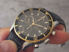 JACQUES LEMANS BLACK/GOLD AUTOMATIC CHRONOGRAPH, SWISS MADE, 42 MM, DATE