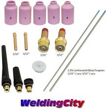 Tig Welding Torch 171826 Gas Lens Kit 116 332 Tungsten Blue T53b Us Seller
