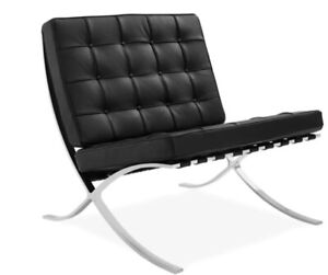 Modern Style Steel Frame With Italian Black LEATHER (Chair only)