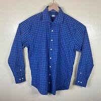 Peter Millar Button Up Shirt Mens Large Blue Plaid Long Sleeve Cotton Cutaway