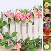 Colorful Rose Garland Silk Flowers Vine Party Wedding Garden Home Decor 8ft YL19