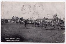 CAMP DEVENS Fort MASSACHUSETTS Military PC Postcard FIELD ARTILLERY DRILL Mass
