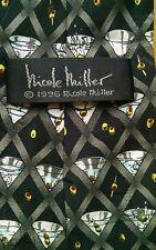 Nicole Miller 100% silk tie martini graphics, black gray