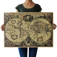 Retro Vintage Globe Old World Map 71x50cm Matte Brown Paper Poster Home Decors