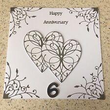"Handmade Iron Wedding Anniversary card Happy 6th Wedding Anniversary Large 8"""