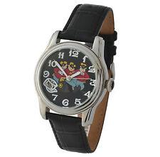 Relojes de pulsera de plata de cuero resistente al agua