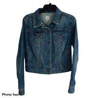 JC PENNEY Women's Blue Jean Denim Jacket Size Medium Distressed Older Button