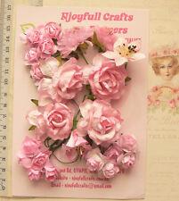 PINK Tones Roses & Lillies - 23 Flowers 25-40mm 5 Styles PAPER VE2 NjoyfullCraft