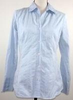 Merona Womens Top Size Medium M Blue Button Down Long Sleeve Shirt Blouse