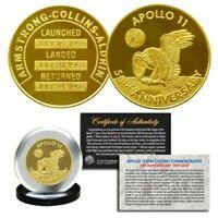Apollo 11 50th Anniv. Commemorative Robbins Space Medallion Coin 24K GOLD 32MM