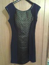 Kleid in S/M mit Leder-Look Details, NEU, schwarz