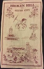 Vintage Souvenir Pure Linen Tea Towel ~ Broken Hill Silver City NSW Australia