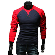 New Men's Fashion Casual Shirts Slim Fit Crew-neck Long Sleeve Tops Tee T-shirt