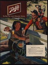 1951 Organ Grinder Street Performer & Capuchin Monkey - SCHLITZ Beer VINTAGE AD