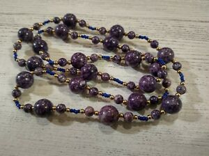Vtg Purple Lapis and Seed Bead Necklace Lovely and unique 30""