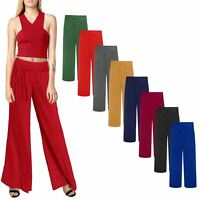 Ladies Long Crinkle Pleated Stretchy Belted Palazzo Suit Evening Trousers Pants