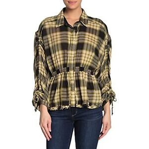 Free People Womens Snap Up Front Plaid Collared Top (Black/Green Combo, S)