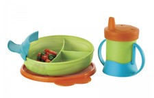 Tupperware Toddler Feeding Set ~ Divided Dish & Grow w/ Me Cup + Sippy Lid New