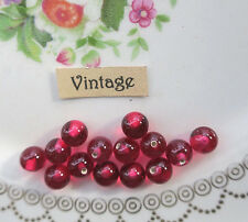 Half Drilled Vintage Beads Glass Pink Cranberry Marble Japan One Hole NOS #1559J