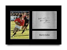 More details for barry john british lions gift signed autograph a4 photo print for rugby fans