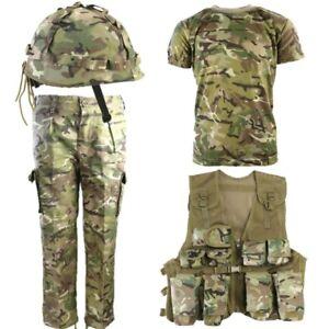 BOYS ARMY SOLDIER OUTFIT KIDS 3-13 TROUSERS T-SHIRT ASSAULT VEST HELMET BTP CAMO