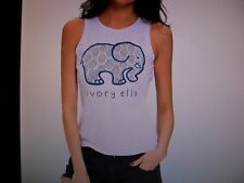 "Junior's Large White Elephant Tank Top - under arm to under arm is 17"" - New"