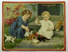 Hood's 1913 Calendar Top Astronomical Events On Back Children Kittens Milk  #L