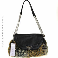 JENNIFER LOPEZ Mixed FAUX FUR BROWN HANDBAG BLACK Flap Front CHAIN Handle PURSE