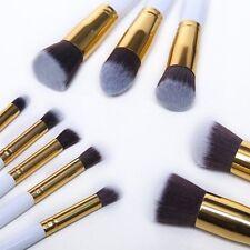 10 pzs Brochas de Maquillaje Profesional con Agarre Blanco y Dorado