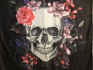 "NEW 60""x52"" Skull with Pink Roses & Flowers Black Tapestry Wall Decor"