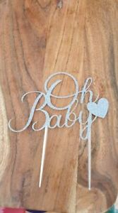 'Oh Baby' glitter cake toppers for baby shower or gender reveal party