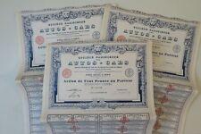 SOCIETE PARISIENNE DES AUTOS CABS ACTION 100 FRANCS PARIS 1926 X 67 ACTIONS