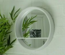 White Mirror Glass Retro Display Shelf  Modern Round Wall Unit Bathroom Bedroom