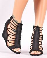 High Heel Wedge Sandals Strappy Fringe Open Toe Wedges Faux Suede Womens Shoes