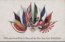 WW1 Military art patriotic postcard Allied Flags Kington S Lake 17th London Regt