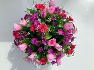 Mini Rose/Daisy Pink artificial flower arrangement in grave/memorial/crem pots
