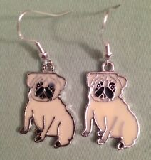 PUG DOG EARRINGS - Enamel with Sterling Silver Ear Wires - FAWN