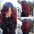 Synthetic Wig Long Curly Wave Straight Ombre Two Tone Full Head Costume Wigs gh6