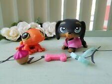 Littlest Pet Shop Black Dachshund #325 Textured Orange Purple Spot Gecko #326