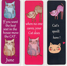 3 BOOKMARKS,FOR ALL 'CAT LOVERS'.CAN BE PERSONALISED 18cm x5cm laminated