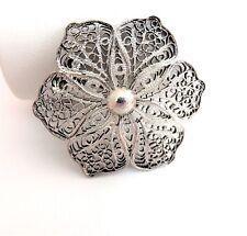 Vintage Style Wire Filigree Brooch - .925 Sterling Silver in a Flower Pattern