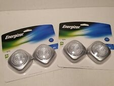 (2) Energizer 2-pack Push On/Off Silver LED Tap Lights Quick Install