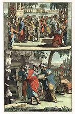 "Dutch Hand-Colored Engraving - ""BURIAL OF LAZARUS & JESUS JEWISH CUSTOMS"" -1690"