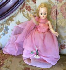 Vintage Hard Plastic 7-1/2� Strung Sleepy Nancy Ann Style Doll Cute Dress