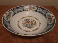 Remington Vintage Fine China Red Sea RARE Blue Spring Garden -round serving bowl