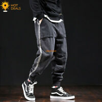 Men`s Retro Black Gray Stripe Loose Denim Pants Harem Taper Fit Jogger Jeans