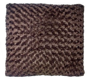 Luxury Brown Faux Fur 60cm Cushion with Hollowfibre Filling
