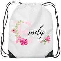 Personalised Flower Gym Bag PE Dance Sports School Swim Bag Waterproof